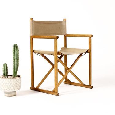 Mid Century Vintage Folding Safari Campaign Arm Chair — Oak + Canvas — Gold Medal by atomicthreshold