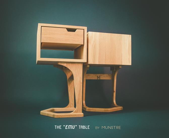 EMU nightstand PAIR by MUNSTRE / custom furniture / w drawer / Walnut / Oak / Cherry / Teak / bedside Scandinavian danish / mid century by MunstreGlow