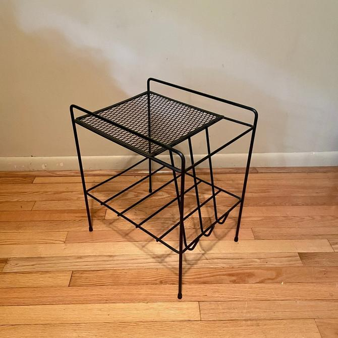 1950s Atomic Side Table Plant Stand Vinyl Record Holder Wire Mesh Expanded Metal Vintage Mid-Century Modernist by BrainWashington