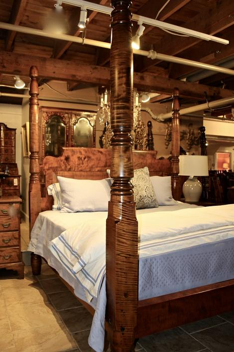 """Grand Tall Post Acorn Top Bed in Heavy 5"""" Tiger Maple, Circa 1830, Resized to King with Chamfered Roll-Back Headboard"""