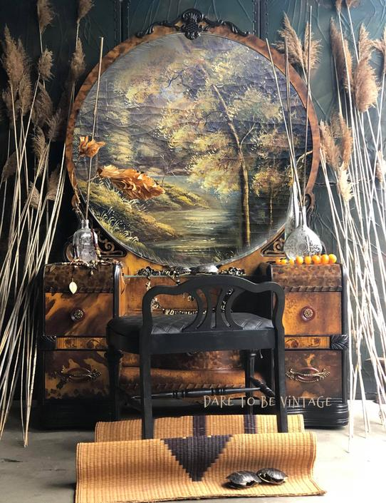 Art Deco Painted Leopard Faux Tortoiseshell Vanity - Vintage Art Deco Vanity Makeup Dressing Table - Bohemian Furniture - Painted Furniture by DareToBeVintage