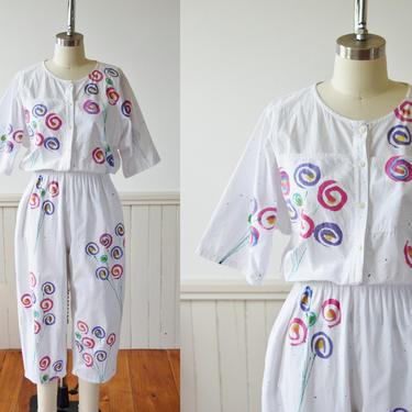 Vintage Edible Arrangement Jumpsuit by Play Alegre | 1990s Hand Painted Floral Jumpsuit | Playsuit | S by wemcgee