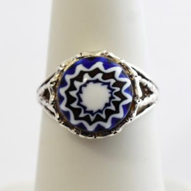 90's 925 silver Millefiori size 6.25 flower ring, bamboo sterling glass My Own Guardian Angel floral solitaire by BetseysBeauties