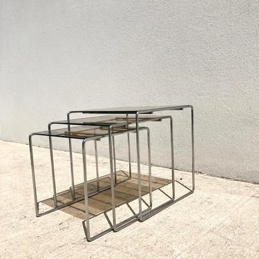 70s Smokey Glass & Chrome Nesting Tables