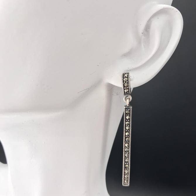 Modernist Silver and Marcasite Earrings by BrainWashington