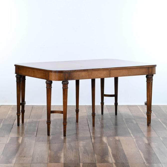 Regency Style Double Post Dining Table W Carved Detail