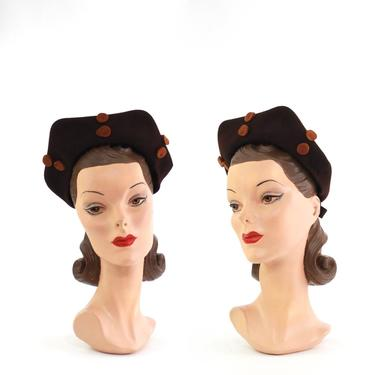 1930s Dark Brown Halo Hat with Orange Details - 1930s Fall Halo Hat - 1930s Brown Halo Hat - Vintage Halo Hat - 1930s Womens Hat - 1930s Hat by VeraciousVintageCo