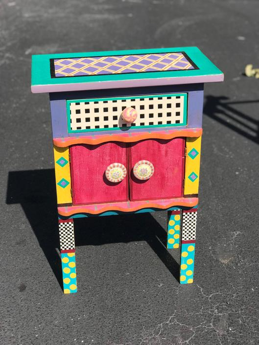 McKenzie Childs style side table by HolbrookBazaar