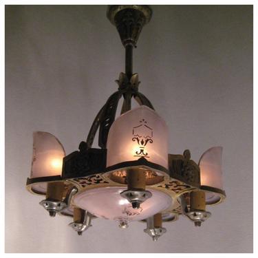 A3546  Antique 1920's-1930's Tudor, Mediterranean Style Art Deco Hanging Ceiling Light Fixture Pendant Chandelier by bbbantiques