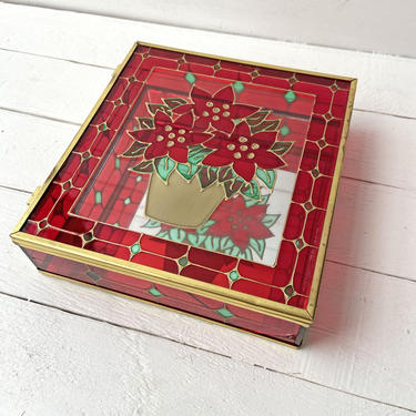 Vintage Glass Poinsettia, Christmas, Holiday Box With Mirror, Keepsake Gift Box   Unique Christmas Decor, Catch All, Jewelry Box, Fancy Gift by CuriouslyCuratedShop