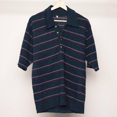vintage 1970s wool HENLEY men's striped club kid short sleeve sweater -- men's size medium by CairoVintage