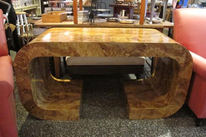 Faux burl wood desk / console. $395