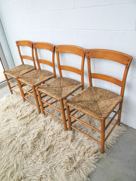 Set of 4 - Rustic Vintage Wood and Rush Woven Chairs by PortlandRevibe
