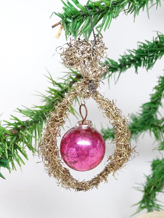 Early 1900's Victorian Christmas Ornament, Antique Mercury Glass Ball in Tinsel Wreath, Vintage Decor by exploremag