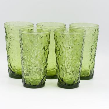 Retro Green Tumbler Glasses, Set of 4, Vintage Barware, Avocado Mod Green Glassware, Rippled Glass, Anchor Hocking Style by TripodVintage