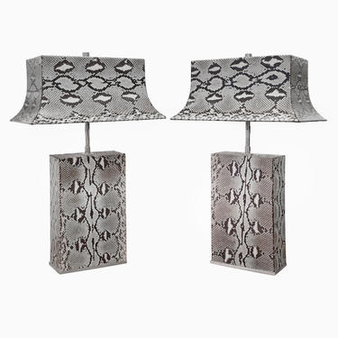 Karl Springer Exquisite Pair of Pagoda Table Lamps in Python 1980s (Signed) - ON HOLD