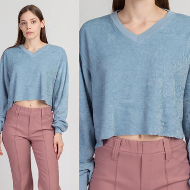 70s 80s Blue Velour Crop Top Sweatshirt - Large to XL   Vintage Long Sleeve Slouchy Cropped Pullover by FlyingAppleVintage