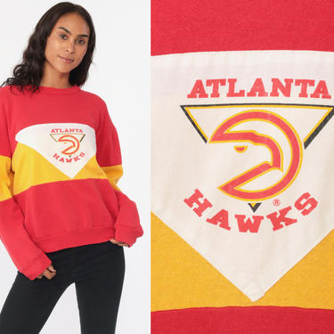Atlanta HAWKS Sweatshirt 80s Basketball Color Block Red Crewneck Pullover Vintage Retro NBA 1980s Yellow Georgia ATL Shirt Medium Large by ShopExile