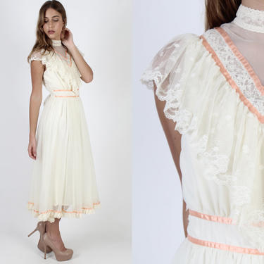 Cream Prairie Wedding Dress / Vintage 70s Sheer Floral Lace Bridal Dress / Simple Ivory Bridesmaids Chiffon Boho Lawn Tea Midi Maxi Dress by americanarchive