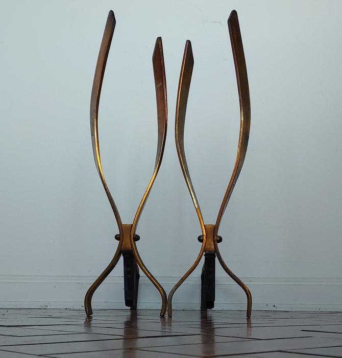 Vintage  Modernist Donald Deskey Style Brass Andiron Set by ModandOzzie