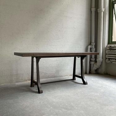 Industrial Ebonized Maple Console Work Table