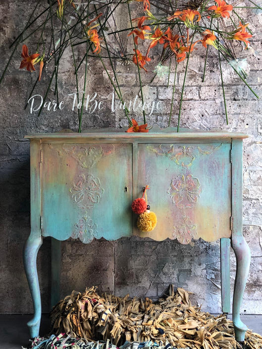 Painted Sideboard Buffet - Bohemian Cabinet - Hand Painted Buffet Table - Bar - Server - Boho Chic Buffet Cabinet - Entryway Table by DareToBeVintage