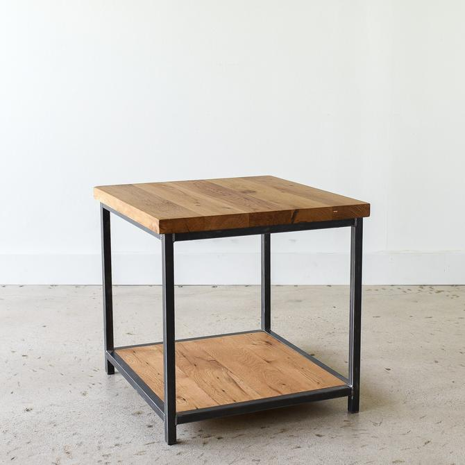 Side Table made from Reclaimed Wood / Industrial Frame with Lower Shelf by wwmake