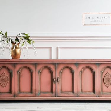 Entertainment Console, TV Console, Storage Cabinet, Pink Painted Console by AminiDesignAshburn