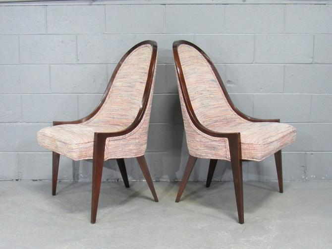 Mid-Century Modern Gondola Slipper Chairs (Model 1053) in Mahogany by Harvey Probber