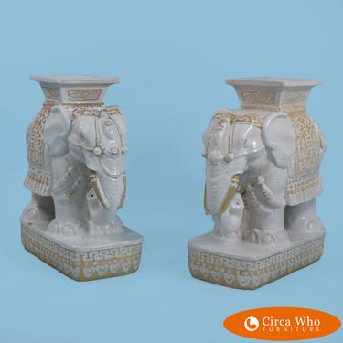 Pair of Terracotta elephant Garden Seats