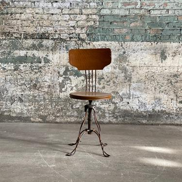 Antique Twisted Wire Japanned Industrial Oak Parlor Stool Flashed Copper Base by NorthGroveAntiques
