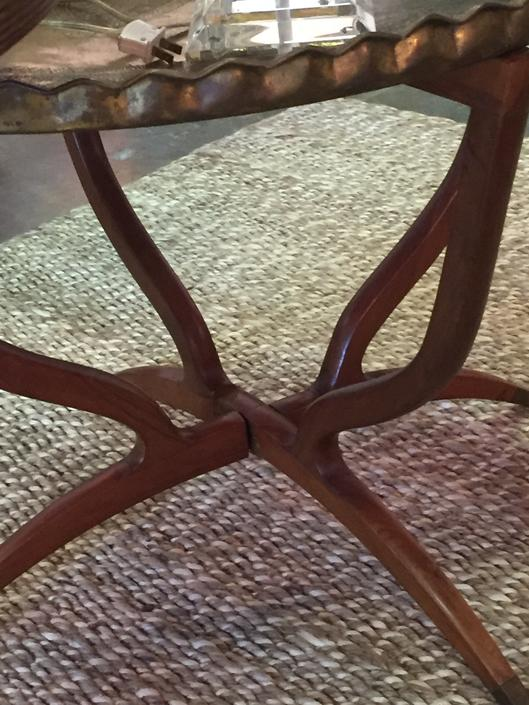 SOLD - Middle Eastern Embossed brass Tray top table on Mid century wood base