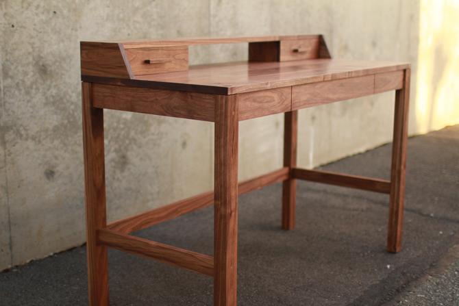 Gordon Writing Desk, Modern Solid Wood Desk, Wood Writing Desk, Minimal Desk, Modern Office (Shown in Walnut) by TomfooleryWood