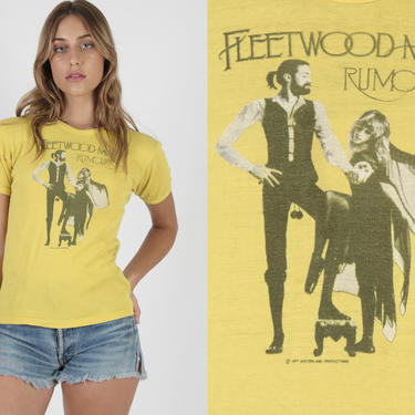 1977 Fleetwood Mac T Shirt / Womens Stevie Nicks T Shirt / Vintage 1970 Rumors Tour Concert T Shirt / Yellow Girls Band Tee T Shirt by americanarchive