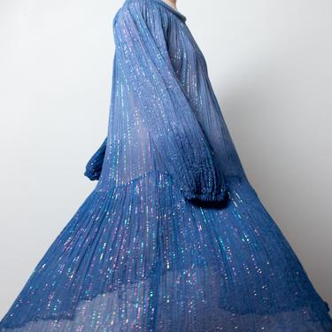 1970s Ombre Gauze Dress | 70s Blue Rainbow Lurex Indian Gauze Dress by FemaleHysteria