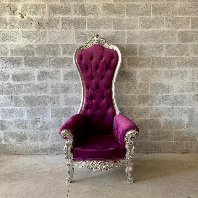 Purple Throne Chair Purple Velvet Chair *1 LEFT* French Chair Throne Purple Velvet Chair Tufted Silver Throne Chair Rococo Interior Design by SittinPrettyByMyleen