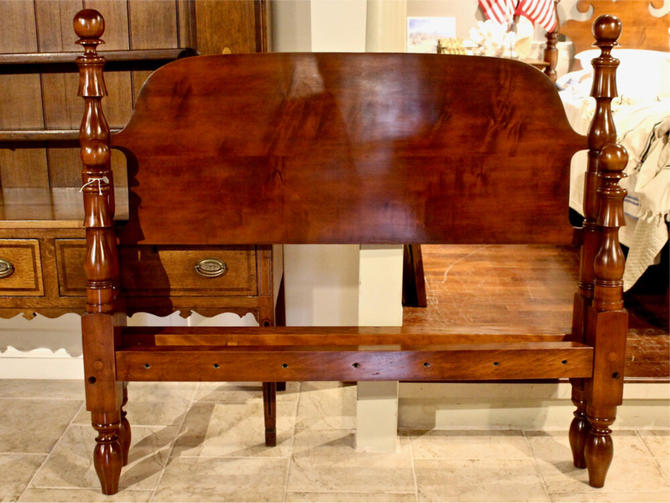 Ball & Bell Bed in Maple, Original Posts Circe 1830. Resized to Queen