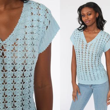 Baby Blue Crochet Top 70s Boho Blouse Pastel Shirt Open Weave Cut Out SHEER Tunic Top Vintage Hippie Bohemian Short Sleeve Cutwork Medium by ShopExile
