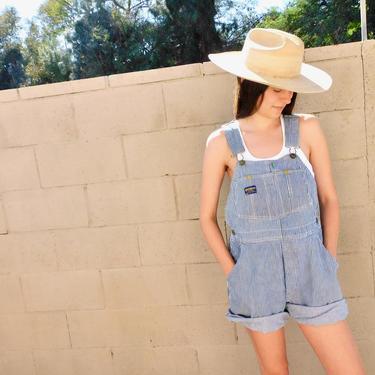 OshKosh Union Overalls // vintage hickory stripe 70s denim shorts boho hippie jean jeans dress cut-offs cutoffs cut offs // O/S by FenixVintage