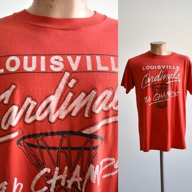 1980s Louisville Cardinals Basketball Champ Tee by milkandice