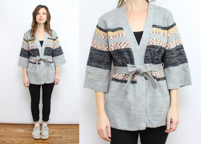 Vintage 70's Space Dyed Gray Open Front Cardigan Sweater / 1970's Wrap Front Cardigan with Bell Sleeves / Women's Size XS - Small by RubyThreadsVintage