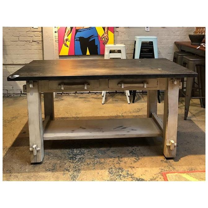 Rustic work table (one tier) on wheels with 2 drawers for storage. 60 L x 31.5 D x 31.5 H