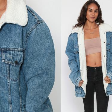 Denim Shearling Jacket Denim Sherpa Jacket 80s Jean Oversized Trucker Biker Coat Blue Vintage 90s Fleece Extra Large xl l by ShopExile