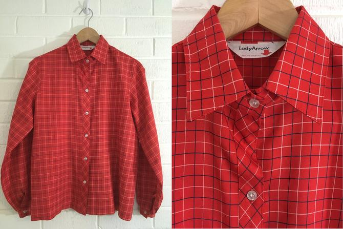 Vintage Red Plaid Top 70s Button Up 1970s Long Sleeve Boxy Women's Size Large L XL Lady Arrow Plus Volup by CheckEngineVintage