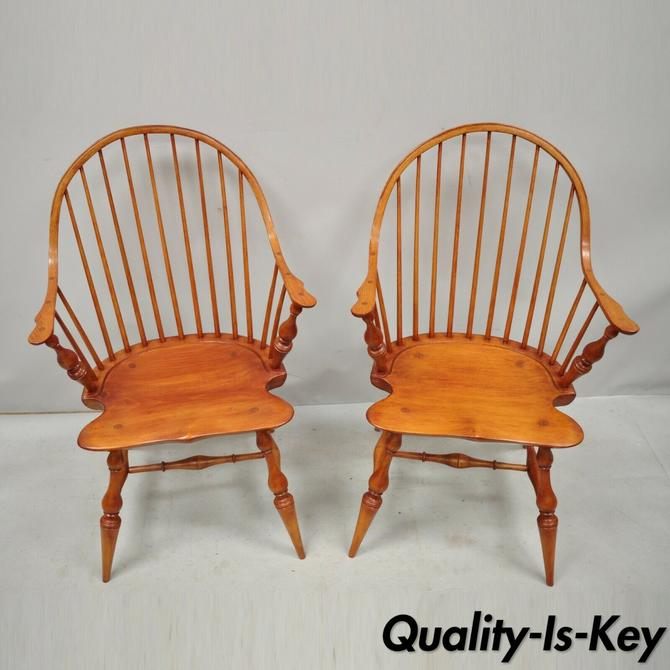 Pair Antique D.R. Dimes Wooden Windsor Bow Back Continuous Arm Dining Chairs