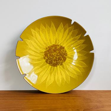 Mid-century sunflower plate / enameled copper dish in yellow / Bovano of Cheshire large ashtray by EarthshipVintage