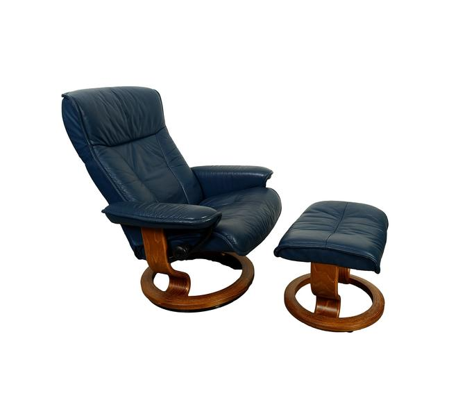 Ekornes Stressless Reclining Chair Ottoman Navy Blue Leather Norway Mid Century Modern By Hearthsidehome
