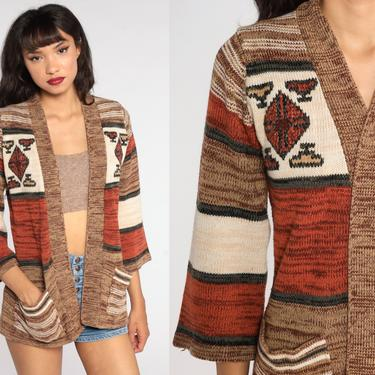 Space Dye Wrap Sweater 70s Boho Cardigan Sweater Brown Striped Sweater Bohemian Cardigan 3/4 Sleeve Vintage Knit 1970s Hippie Small by ShopExile