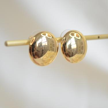 gold round dome button sphere ear stud earring, round hallow gold ear stud, round flat dome gold earring, gold round flat dome ear studs by MelangeBlancDesigns