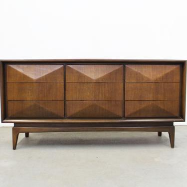 Mid-Century Modern 3D Diamond Front Walnut Credenza Dresser by United by AnnexMarketplace